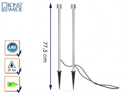 2er-Set LED-Erdspießstrahler / Gartenstrahler MONZA 77cm Aluminium, 3W, IP44