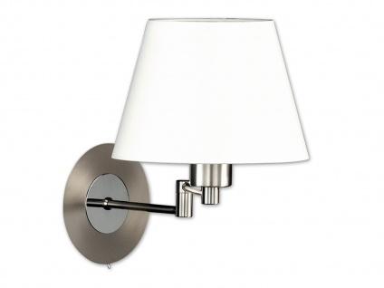 Wandleuchte Bettlampe Silber mit Schalter & Lampenschirm Stoff Weiß verstellbar - Vorschau 2