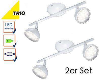 2er Set Trio LED Deckenstrahler BOLOU weiß, Deckenleuchten Lampen Retro Vintage