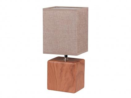 Tischleuchte LOG Schirm eckig Struktustoff beige Wohnzimmerlampe Honsel-Leuchten - Vorschau 2