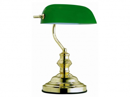 Globo Tischlampe ANTIQUE, Bankerlamp Glas grün, Retro Vintage Tischleuchte