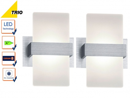 2er Set Trio LED Wandleuchten PLATON mit Schalter, Wandlampen Flur Wohnzimmer