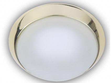 schöne Deckenleuchte Messing poliert, Deckenlampe rund Glas satiniert, Ø 25cm