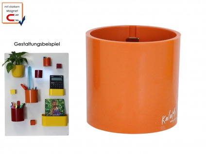 Kunststofftopf mit Magnet Ø 6cm Orange, Wanddeko Wandaufbewahrung, KalaMitica