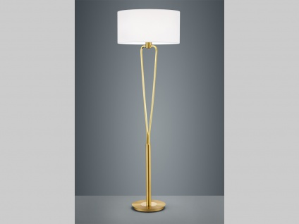 Klassische LED Stehlampe Messing matt mit rundem Textil Schirm in weiß Flurlampe
