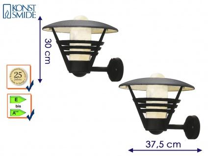 Außenwandleuchte Laterne schwarz, Opalglas, Lampe Hauswand Terrasse, Konstsmide