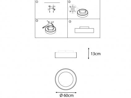 Große runde LED Deckenleuchte mit Metallschirm schwarz - 2er Set fürs Wohnzimmer - Vorschau 4