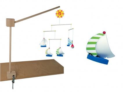 Halterung für Mobile am Kinderbett aus 100% Naturholz, mit Mobile Segelschiffe