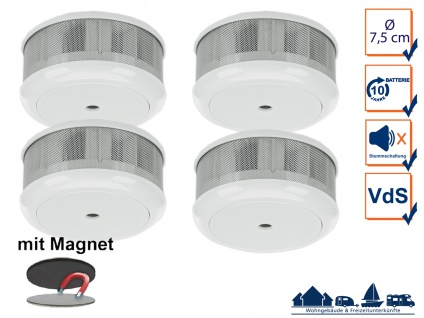 4er-Set Mini 10-Jahres Rauchwarnmelder + Magnet-Set mit VDS & DIN EN14604