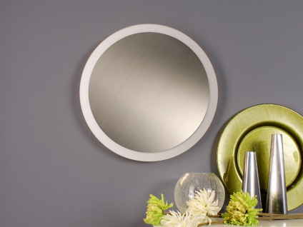 Angesagte LED Innenlampe für Wand und Decke mit Silber Spiegel Design rund 30cm