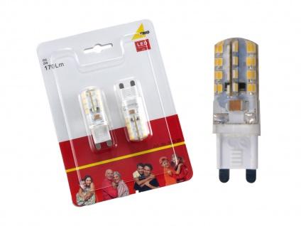 2er-Set LED Leuchtmittel Stiftform 2 Watt warmweiß nicht dimmbar G9-Sockel weiß - Vorschau 3