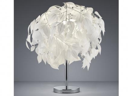 Tischleuchte Lampenschirm weiß Ø45cm mit Blättern in Feder Optik fürs Wohnzimmer