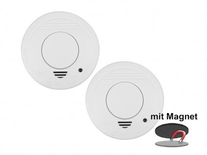 2er-Set Rauchmelder mit 1 Jahres Batterie - Stummschaltfunktion + Magnethalter - Vorschau 2