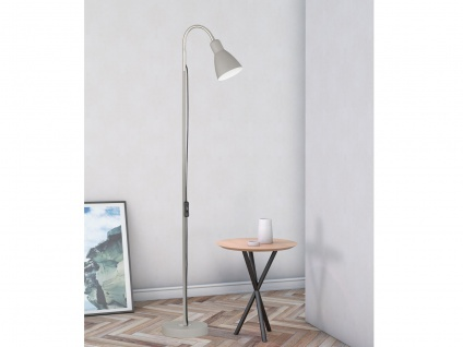 Retro LED Stehlampe Grau mit Reflektor flexible Leselampe kleine Wohnzimmerlampe