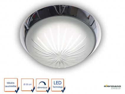 LED Küchenlampe Ø25cm Schliffglas satiniert Dekorring Chrom LED Korridorleuchte