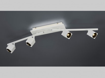 Großer LED Deckenspot 4 fl. mit indirekter Beleuchtung in weiß matt 87x8, 5cm
