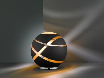 Extravagante Tischleuchte Lampenschirm aus GLAS in schwarz & gold, DESIGNERLAMPE