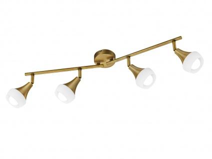 Schwenkbare Trio Wandlampe Metall altmessing & Glas in Weiß, 4 Spots E14 Sockel