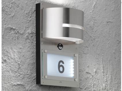 Edelstahl LED Hausnummernleuchte mit Bewegungsmelder, Wandleuchte außen Haus