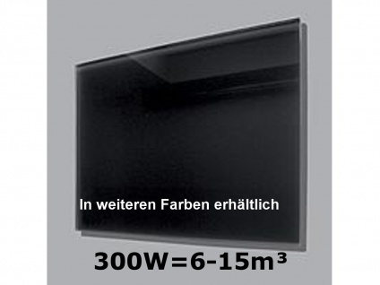 300W Infrarot-Glaspaneel schwarz, 70x50cm, für Räume 6-15m³