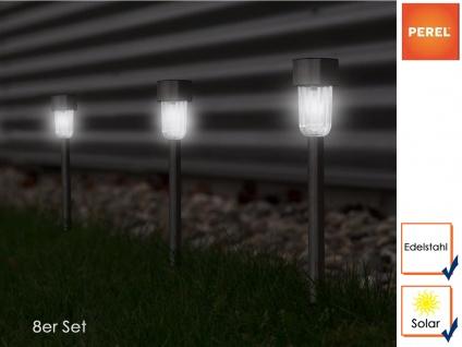 Solar Außenleuchten 8er Set, Ø 4, 7cm, Edelstahl & Kunststoff Gartenbeleuchtung