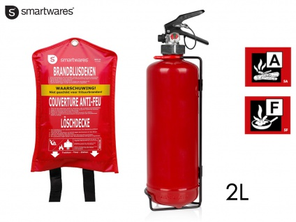 Set: Feuerlöscher Fettbrandlöscher 2L, Brandklasse AF + Löschdecke Brandschutz