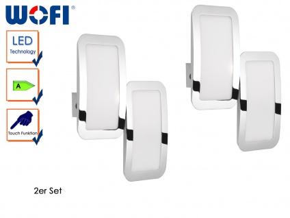2er Set 2-flammige LED Wandleuchte Weiß / Chrom, Touchschalter, Wandlampe