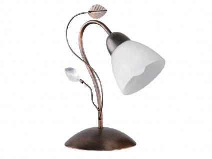 Rostfarbige Tischlampe mit Antik Look Blätter Motiv & E14 Sockel, Metall & Glas