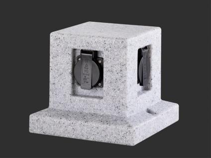 Außensteckdosen Granitoptik 4 fach - 2er Set Gartensteckdosen Terrassensteckdose - Vorschau 4