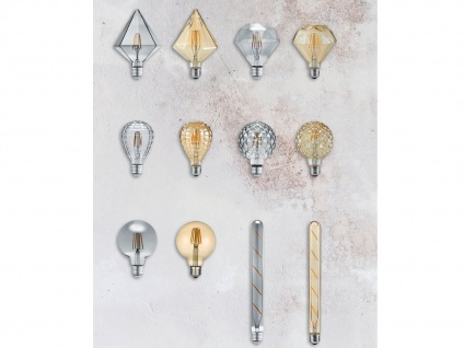 Filament LED Leuchtmittel Diamant rauchfarbig E27 4 Watt 100 Lumen Warmweiß - Vorschau 4