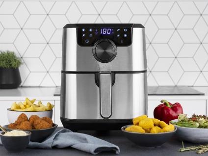 Edelstahl XXL Heißluftfritteuse Umluft Friteuse Pommes ohne Öl 4, 5L 1500Watt - Vorschau 3