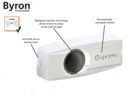 Nachtleuchtender Funk Klingelknopf weiß für drahtlos Türklingeln Byron BY-Serie