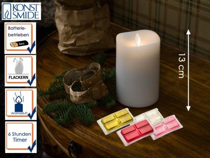 LED Duftkerze Echtwachs 6h Timer mit 4 Duftrichtungen H. 13cm Stimmungslicht