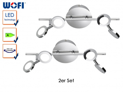 2er Set LED Deckenleuchte JOYCE, Chrom, Deckenlampen Deckenleuchten LED Strahler