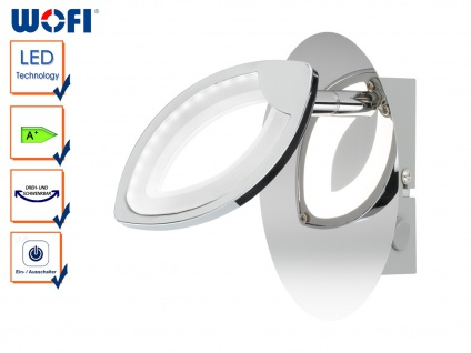 LED Wandleuchte CAREY mit Schalter, Chrom, Wandspot Wandlampe LED Spot Leuchte