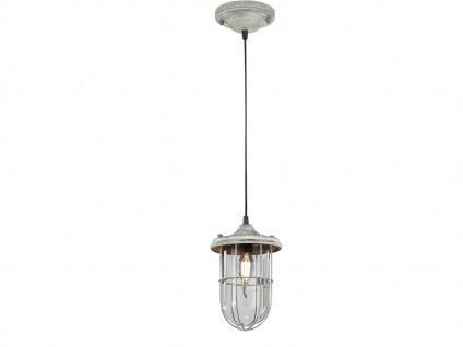 LED Hängelampe grau antik Lampenschirm Glas 14, 5cm, Retro Pendelleuchte Vintage - Vorschau 2