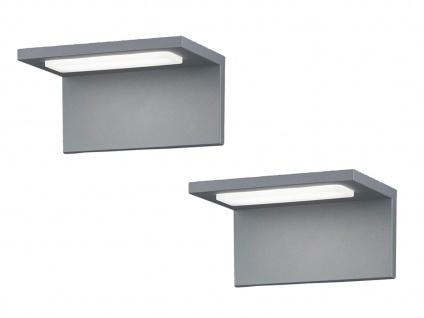 Moderne LED Außenwandleuchten in Grau - 2er Set Terrassenbeleuchtung Wandlampen - Vorschau 2