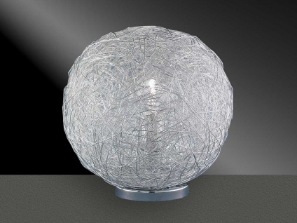 Kugelförmige Tischlampe 30cm Chrom, Drahtgeflecht, Action by Wofi
