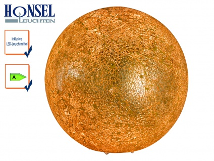 LED Kugel Tischleuchte Glas Goldfarbig craquele Ø 25cm Wohnraumleuchte Design