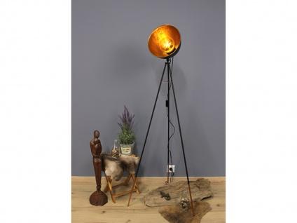 Dreibein Metallstehleuchte mit schwenkbarem Blattgold Schirm & Schalter, H.136cm