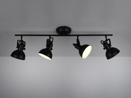 LED Deckenstrahler 4 flammig im Retro Look aus schwarzem Metall dreh+schwenkbar