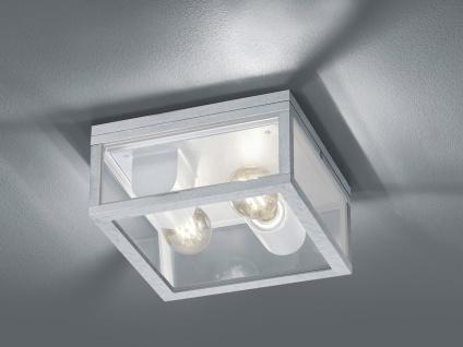 2-flammige eckige LED Außendeckenleuchte Silber - Außendeckenlampen für Balkon