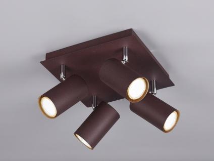 Schwenkbare 4 Spot Deckenlampe - LED Bürolampe & Wohnraumleuchte, rostfarbig