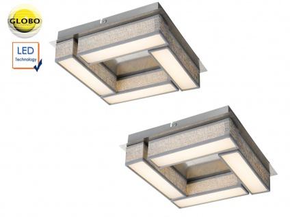 2er Set LED Deckenleuchten PACO 30x30cm Textil grau, Deckenlampe Wohnzimmer Flur