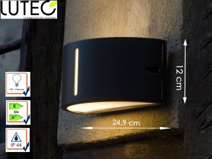 Halbrunde Außenwandleuchte Aluminiumguss B. 24, 9 cm IP44 Fassadenbeleuchtung - Vorschau 1
