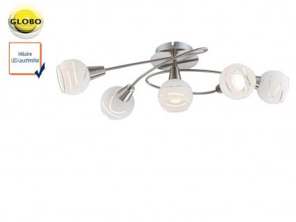 LED Deckenleuchte Rondell 5flammig Lampenschirme Glas, Deckenlampe Strahler