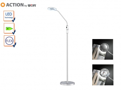 LED Stehleuchte, Leselampe mit Leselupe, flexibel, Action by Wofi