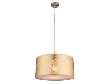 Globo Pendelleuchte 40cm mit dimmbarem LED Leuchtmittel & Textilschirm in gold