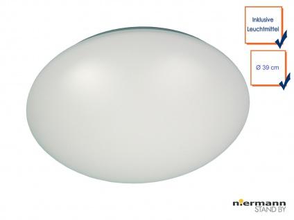 LED Deckenleuchte Deckenschale rund Kunststoff opalweiß, Ø39cm, Treppenhauslampe