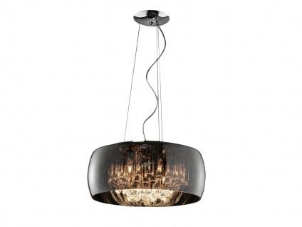 Hängeleuchte mit runden Glas Lampenschirm, bedampft & Metall chromfarbig Ø 50 cm